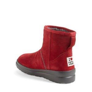 UGG red I heart kisses mini boot
